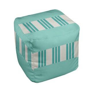 18 x 18-inch Tri-tone Aqua Block Stripe Decorative Pouf