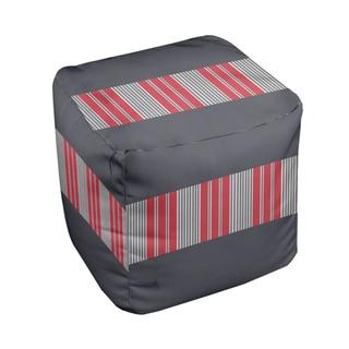 18 x 18-inch Tri-tone Steel Block Stripe Decorative Pouf