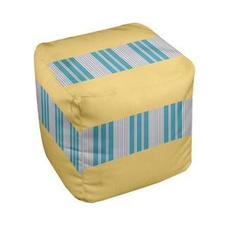 18 x 18-inch Tri-tone Lemon Block Stripe Decorative Pouf