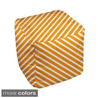 18 x 18-inch Bright Diagonal Stripe Decorative Pouf