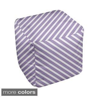18 x 18-inch Purple Diagonal Stripe Decorative Pouf