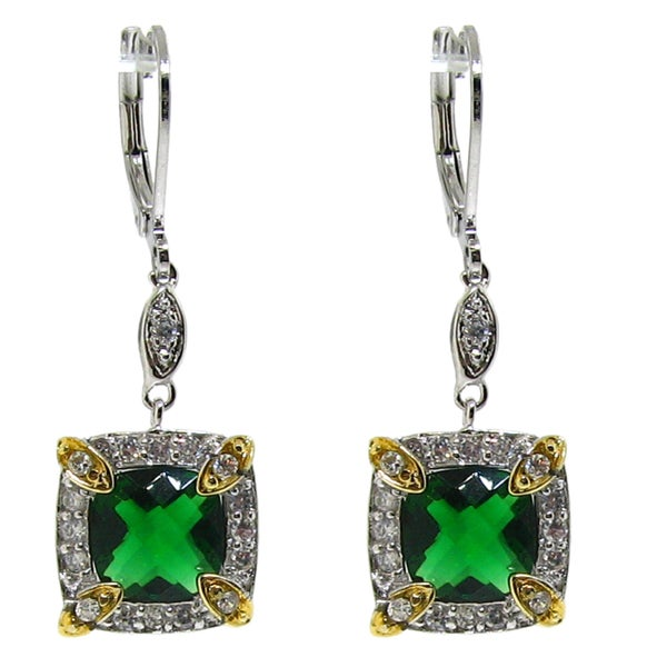 Gioelli Two-tone Green Clear Cubic Zirconia Dangle Earrings