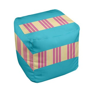 18 x 18-inch Tri-tone Turquoise Block Stripe Decorative Pouf
