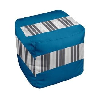 18 x 18-inch Tri-tone Peackock Block Stripe Decorative Pouf