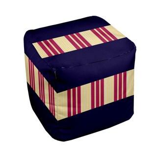 18 x 18-inch Tri-tone Navy/ Lemon Block Stripe Decorative Pouf