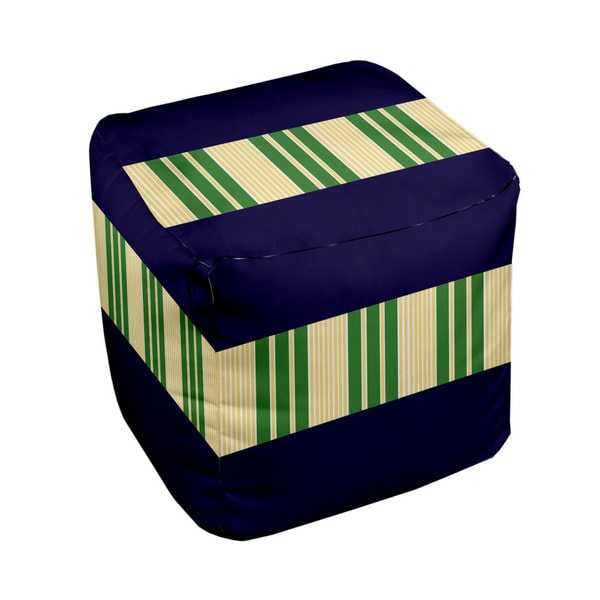18 x 18-inch Tri-tone Spring Navy/ Leaf Block Stripe Decorative Pouf