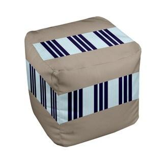 18 x 18-inch Tri-tone Flax Block Stripe Decorative Pouf