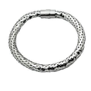 Stainless Steel Men's Silvertone Tube Snakeskin Bracelet
