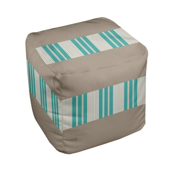 18 x 18-inch Flax/ Jade Block Stripe Decorative Pouf