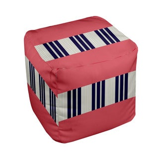18 x 18-inch Tri-tone Coral Block Stripe Decorative Pouf