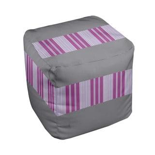 18 x 18-inch Classic/ Lilac Block Stripe Decorative Pouf