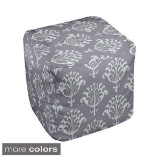 13 x 13-inch Neutral Ikat Print Decorative Pouf