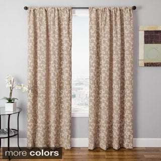 Solomon Faux Linen Embroidered Curtain Panel