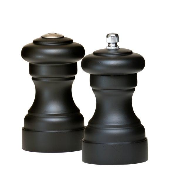 4-inch Solid Wood Soft Black Shaker and Mill Set