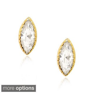 Sterling Silver Marquise Shaped Cubic Zirconia Stud Post Earrings