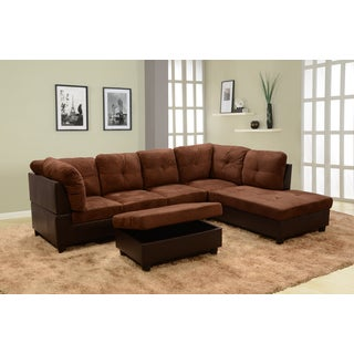 Delima 3-piece Dark Brown Microsuede Sectional with Storage Ottoman