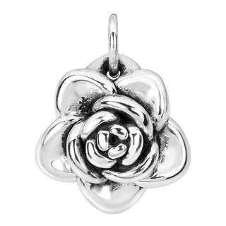 Adorable Blooming Rose Sterling Silver Pendant or Charm (Thailand)