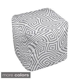 13 x 13-inch Neutral Greek Key Swirl Decorative Pouf