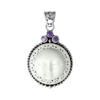 Sterling Silver Lacey Edge Cow Bone Moon Face with Amethyst Pendant (Indonesia)