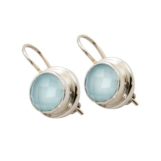 Sitara Sterling Silver Aqua Chalcedony Dangle Earrings (India)
