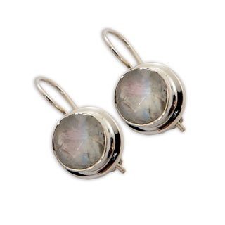 Sitara Sterling Silver Rainbow Moonstone Dangle Earrings (India)