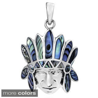 American Indian Chief Head Stone Inlay .925 Silver Pendant (Thailand)