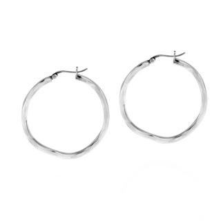 Trendy Wave Textured Circle .925 Silver Hoop Earrings (Thailand)
