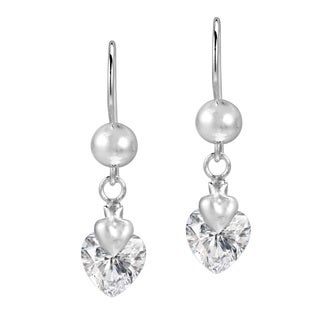 Dazzling Love Cubic Zirconia Heart .925 Silver Earrings (Thailand)