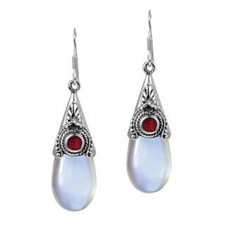 Vintage Moonstone Teardrop .925 Silver Dangle Earrings (Thailand)