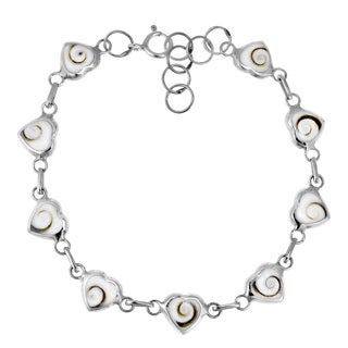 Love All Around Heart Link Shiva Shell .925 Silver Bracelet (Thailand)