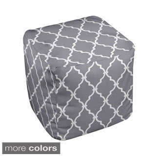 13 x 13-inch Neutral Lattice Print Decorative Pouf