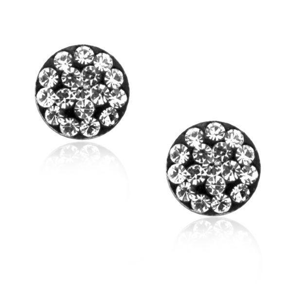 Gioelli Sterling Silver Sparkling Crystal Round Stud Earrings