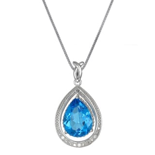Sterling Silver 7ct Blue Topaz Pendant