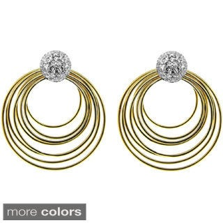 Brass Multiple Circles Pave Clear Cubic Zirconia Dangle Earrings