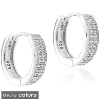 Sterling Silver Micro-pave Cubic Zirconia Hoop Earrings