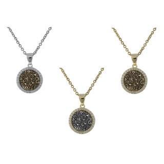 Sterling Silver Druzy Quartz Circle Pendant Necklace