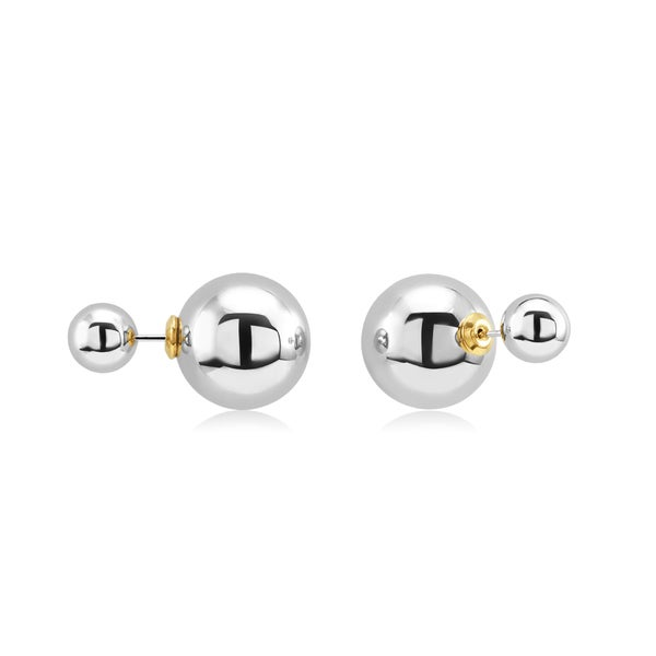 Sterling Silver Double Ball Front-Back Stud Earrings