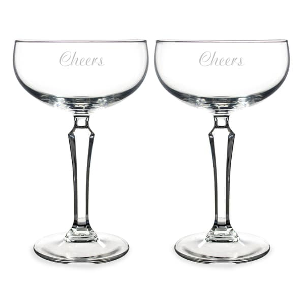 'Cheers' Coupe Champagne Glasses (Set of 2)
