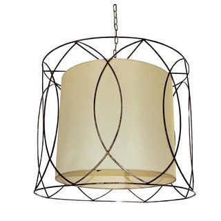5-light Wrought Iron and Beige Drum Chandelier
