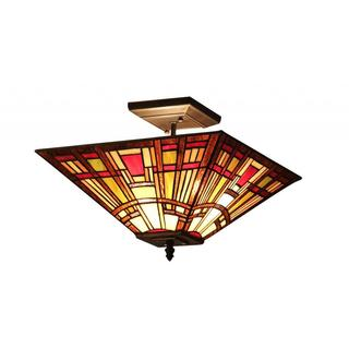 Tiffany Style Mission 2-light Flushmount Lighting Fixture