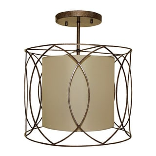 Flush Mount 3-light Wrought Iron and Beige Drum Chandelier