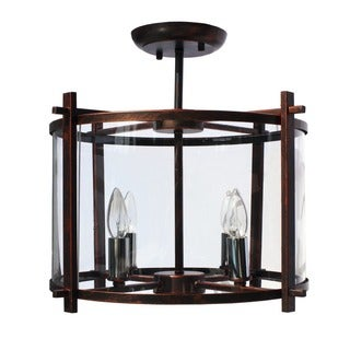 Wrought Iron Antique Bronze Flush Chandelier