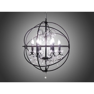 Black Wrought Iron Orb Chandelier Overstock Shopping
