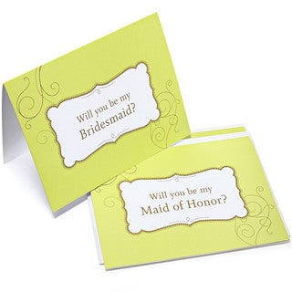 Green Swirl 'Will You Be My Bridesmaid' Cards