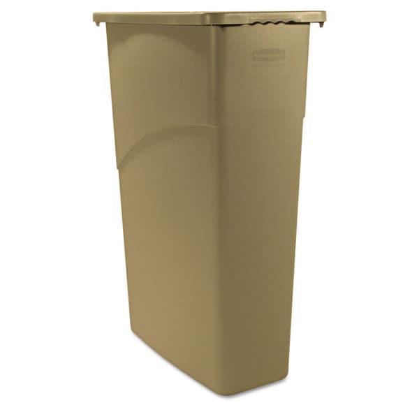 Rubbermaid Beige Rectangular Commercial Slim Jim 23-gallon Waste Container