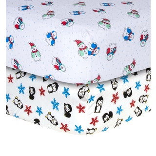 Trend Lab Snowman and Penguin Print Flannel Crib Sheets (2 Pack)