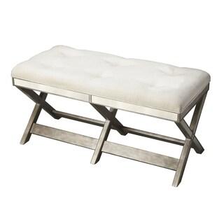 Abbyson living marcus cream nailhead trim extended x bench for Abbyson living soho cream fabric chaise