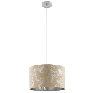 Illuminada 1-light Silver Foil Leaves Shade Fabric Pendant with Beige