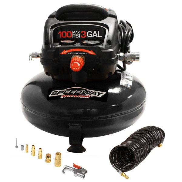 Speedway 3-gallon Oil Free Pancake Compressor with 25-foot Recoil Hose and Inflation Kit