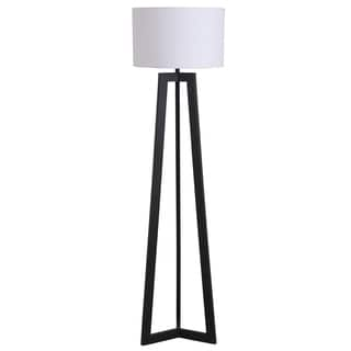 Illuminada 58-inch Black Triangle Floor Lamp with White Drum Shade